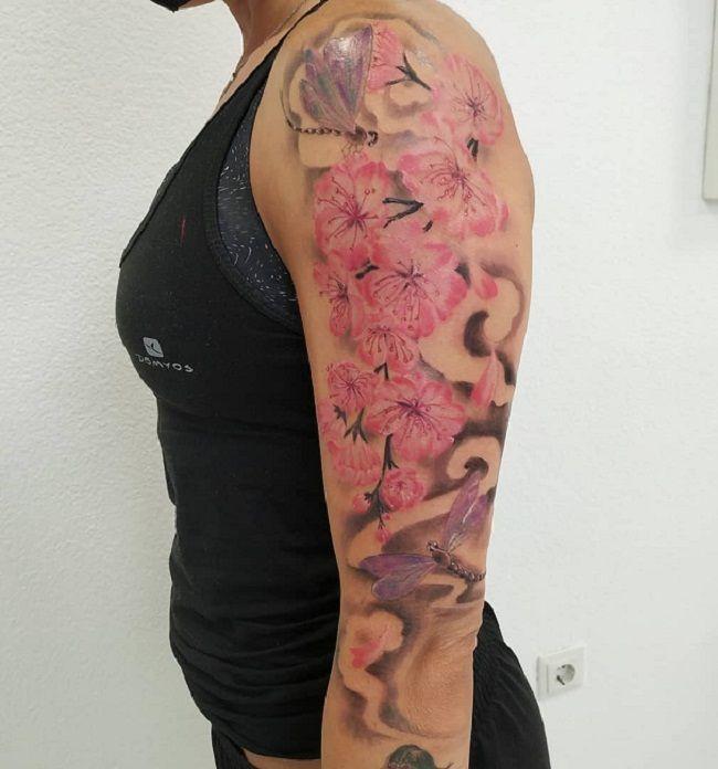 'Dragonfly with Sakuras' Tattoo