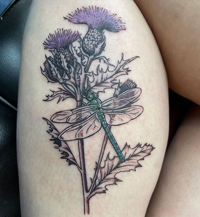 'Dragonfly with Thistle Plant' Tattoo