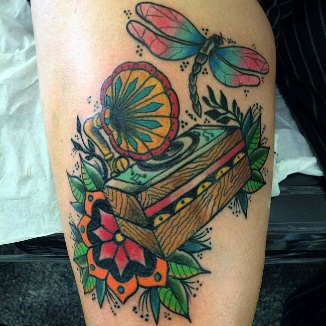 'Dragonfly with the Music box Gramophone' Tattoo