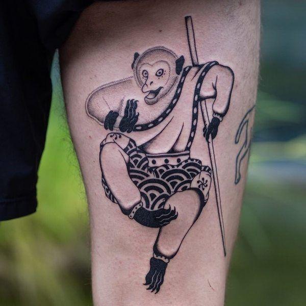 Fighting Monkey Tattoo