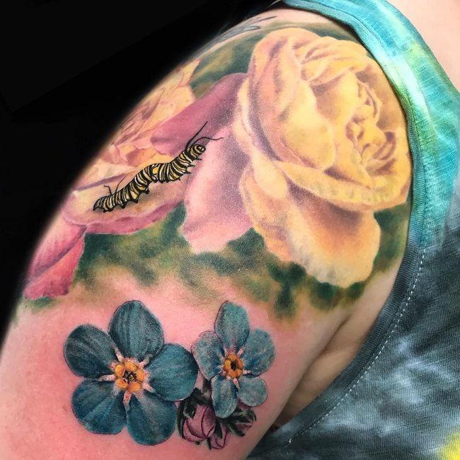 Floral Caterpillar Tattoo