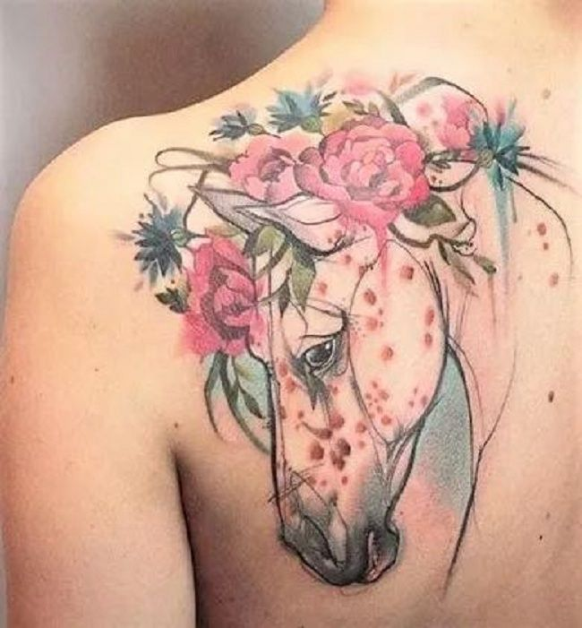 Floral Horse Tattoo