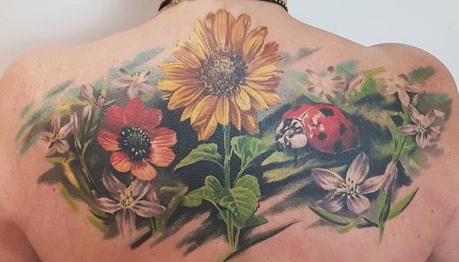 Floral Ladybird Tattoo
