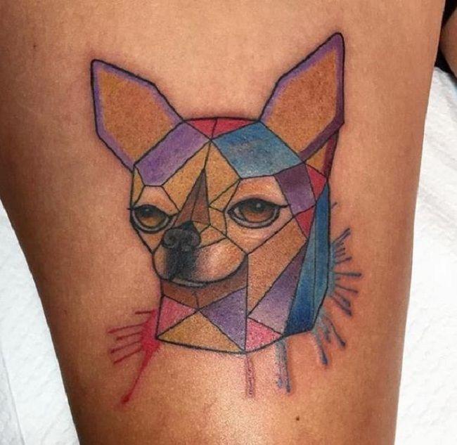Geometric Chihuahua Tattoo