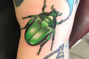 Glossy Green Beetle Tattoo