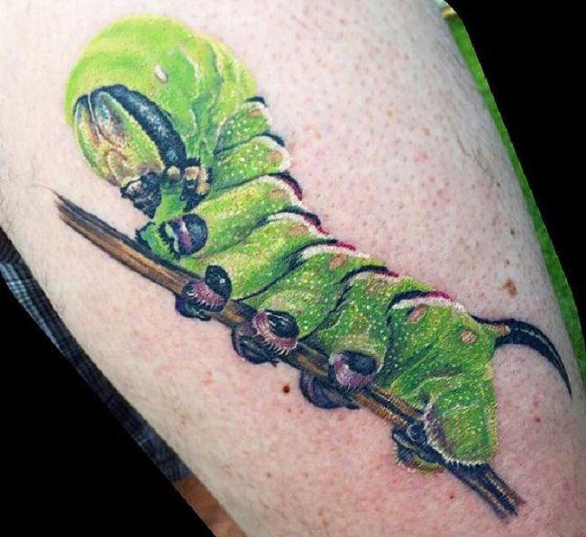 Green Caterpillar Tattoo
