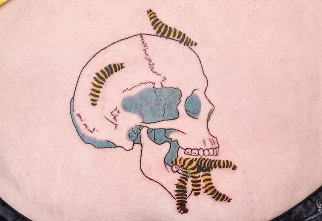 'Group of Caterpillars with a Skull' Tattoo