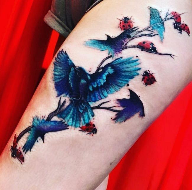 'Group of Crows and Ladybirds' Tattoo