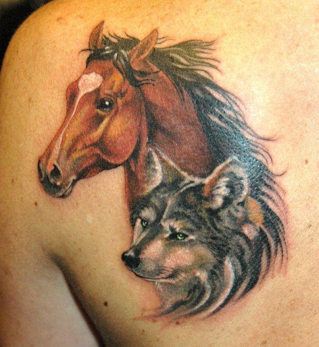 Horse-Wolf Tattoo