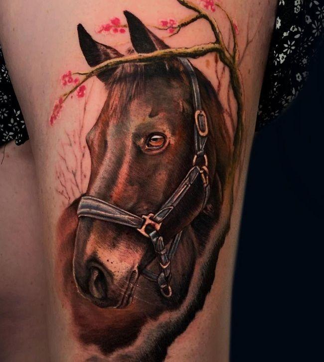 'Horse with Blossom Tree' Tattoo