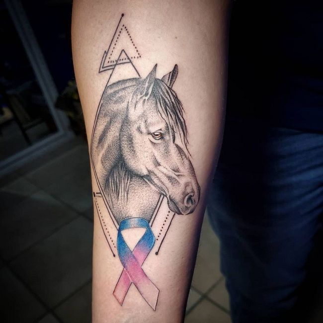 'Horse with a Cancer Ribbon' Tattoo
