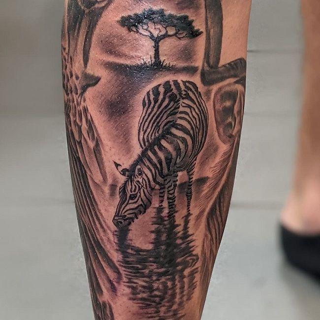 Jungle-Theme Zebra Tattoo