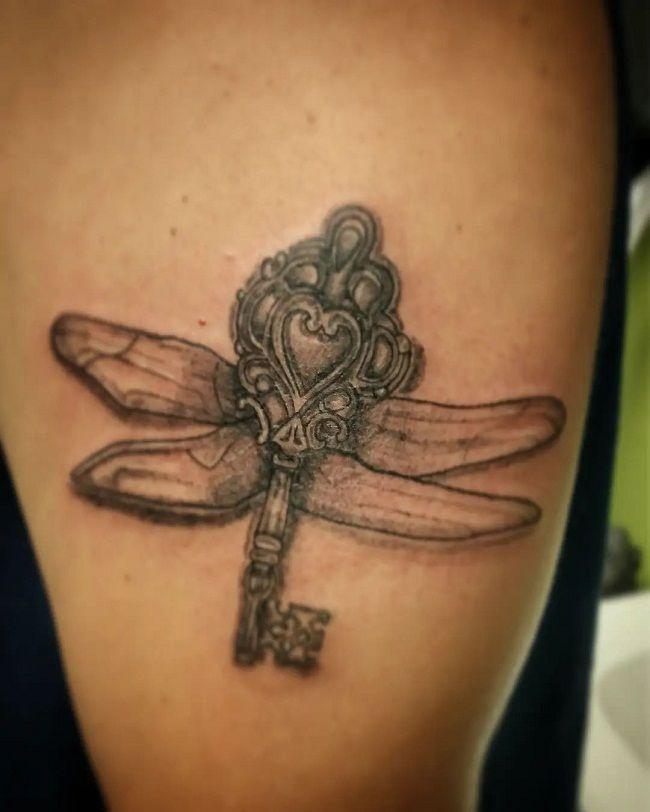 'Key Shaped Dragonfly' Tattoo
