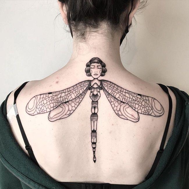 Lady Dragonfly Tattoo