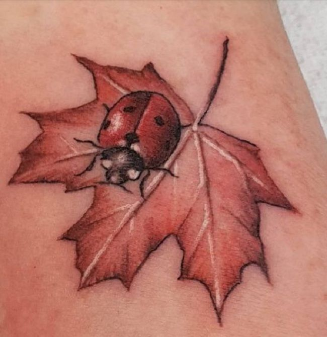 'Ladybird on a Maple-Leaf' Tattoo
