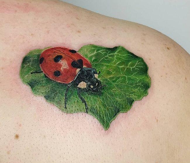 'Ladybird sitting on a Leaf' Tattoo