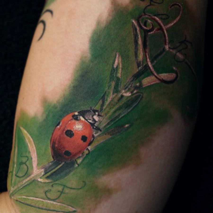 'Ladybird sitting on a Stem' Tattoo