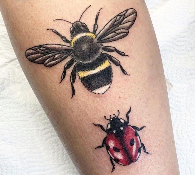 'Ladybird with Bee' Tattoo