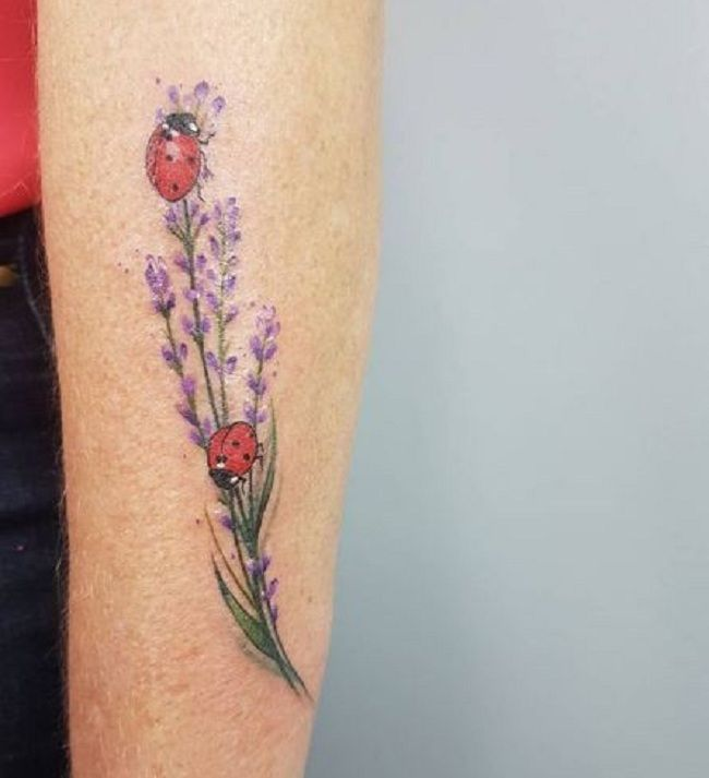 'Ladybird with Lavender' Tattoo