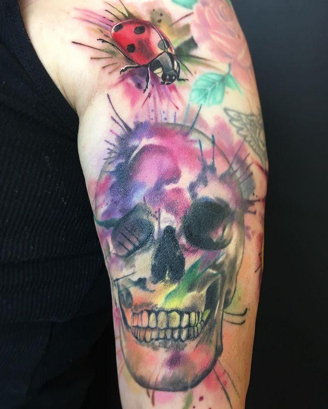 'Ladybird with Skull' Tattoo