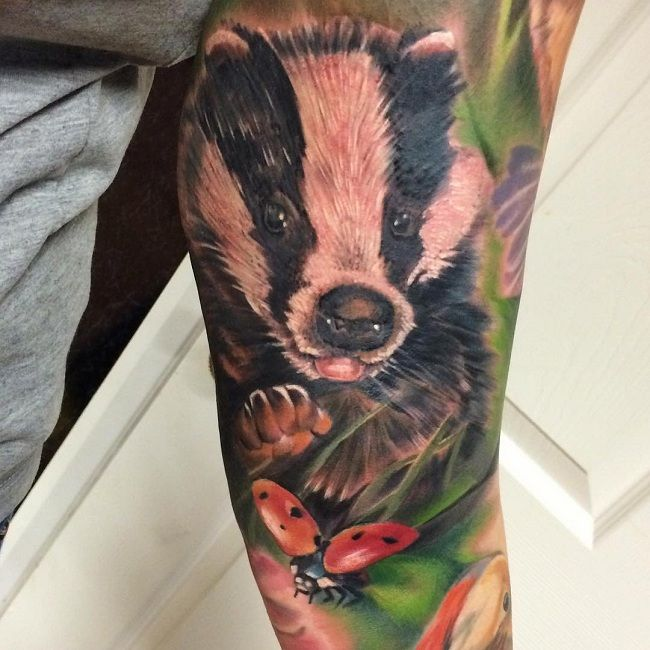 'Ladybird with a Badger' Tattoo