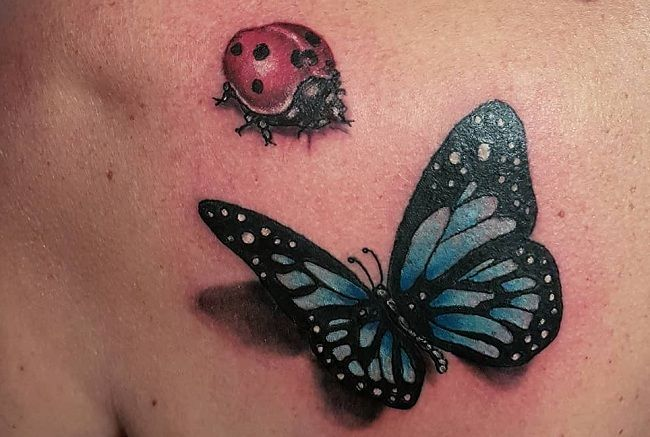 'Ladybird with a Butterfly' Tattoo