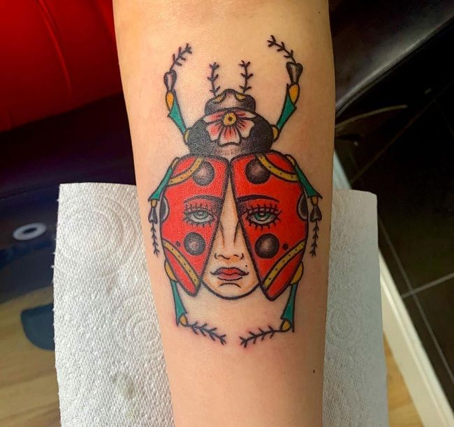 'Ladybird with a Lady-face' Tattoo