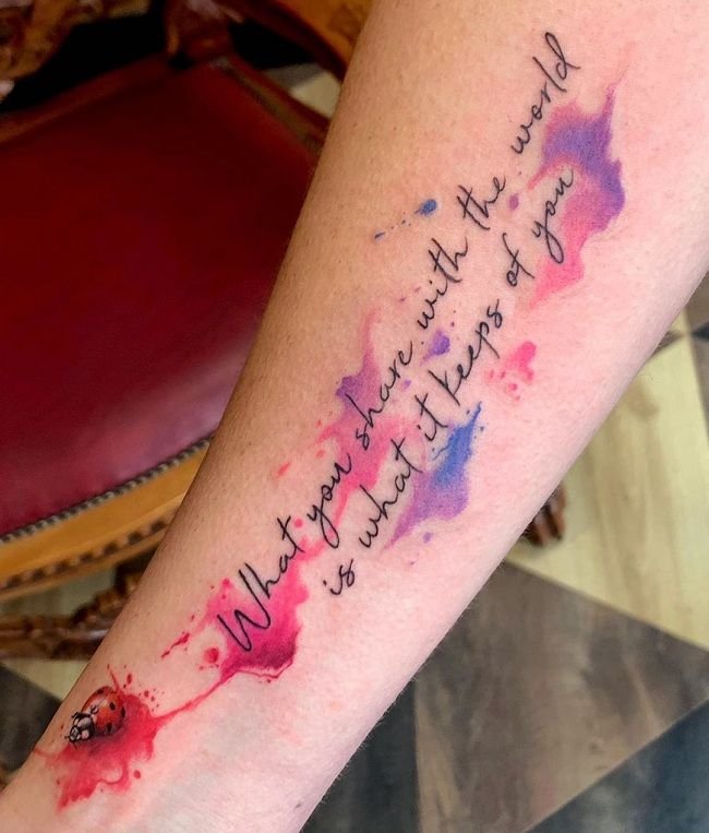 'Ladybird with a Quote' Tattoo