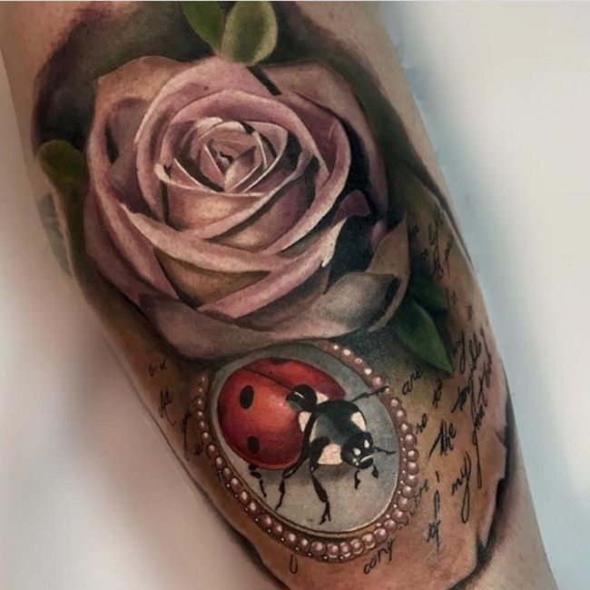 'Ladybird with a Rose' Tattoo