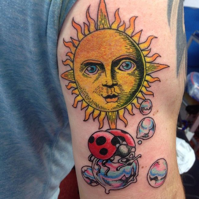 'Ladybird with the Sun and a Bubble' Tattoo