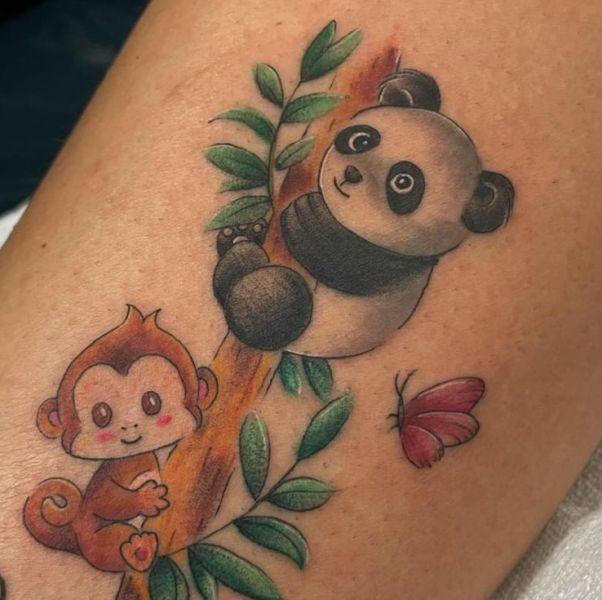 'Monkey and Panda' Tattoo