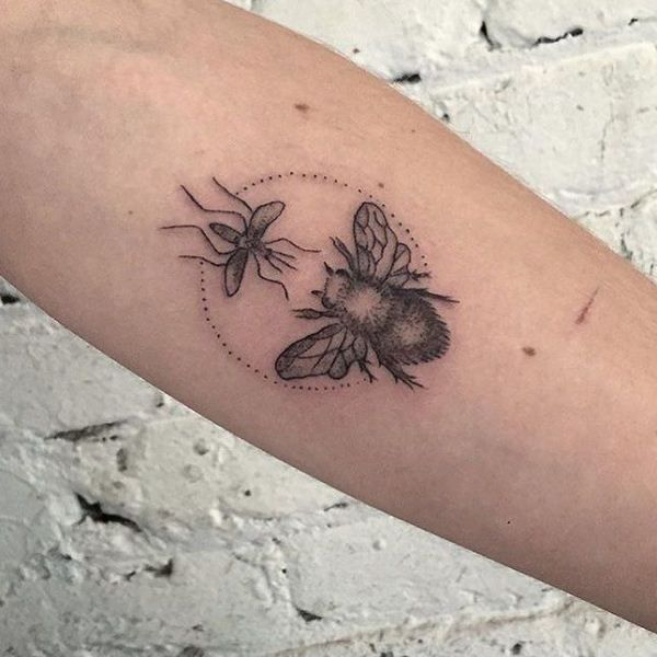 'Mosquito with a Bee' Tattoo