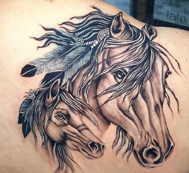 'Mother with Baby Horse' Tattoo