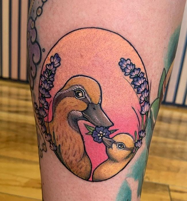 'Mum and Baby Duck' Tattoo