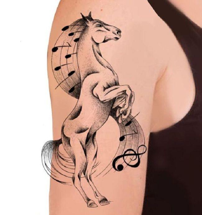 Music-Theme Horse Tattoo