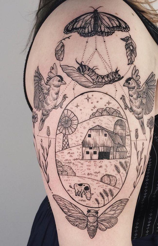 Nature-Theme Caterpillar Tattoo