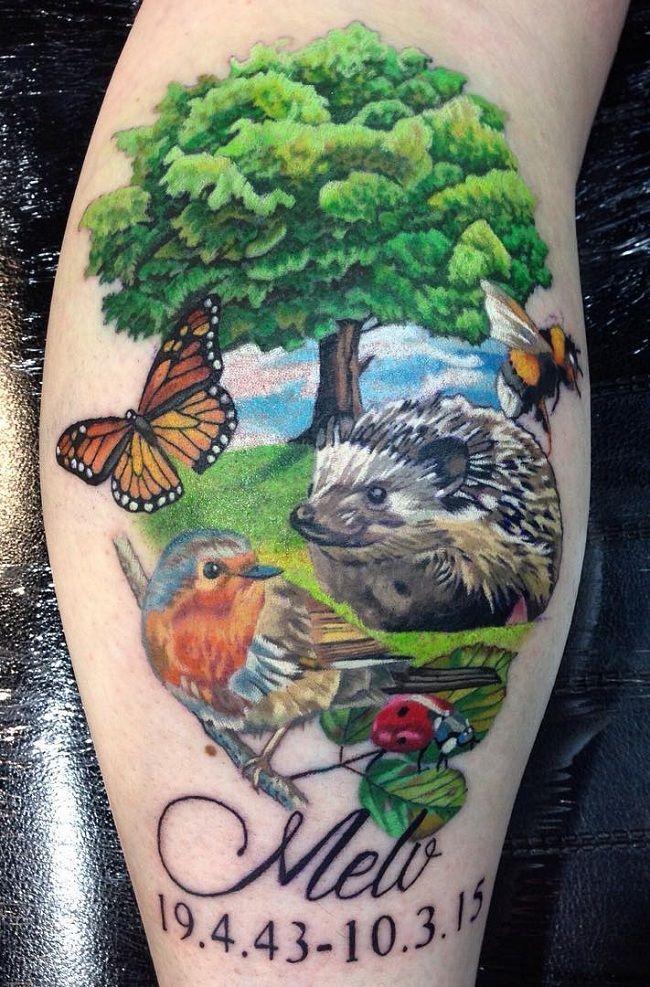 Nature-Theme Ladybird Tattoo