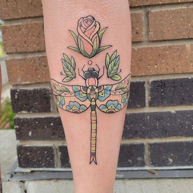 Paisley Pattern Dragonfly Tattoo