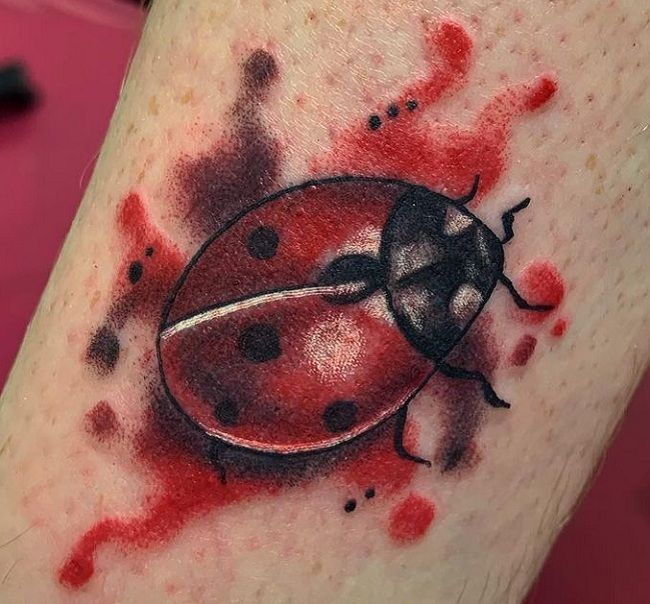 Red-Theme Ladybird Tattoo