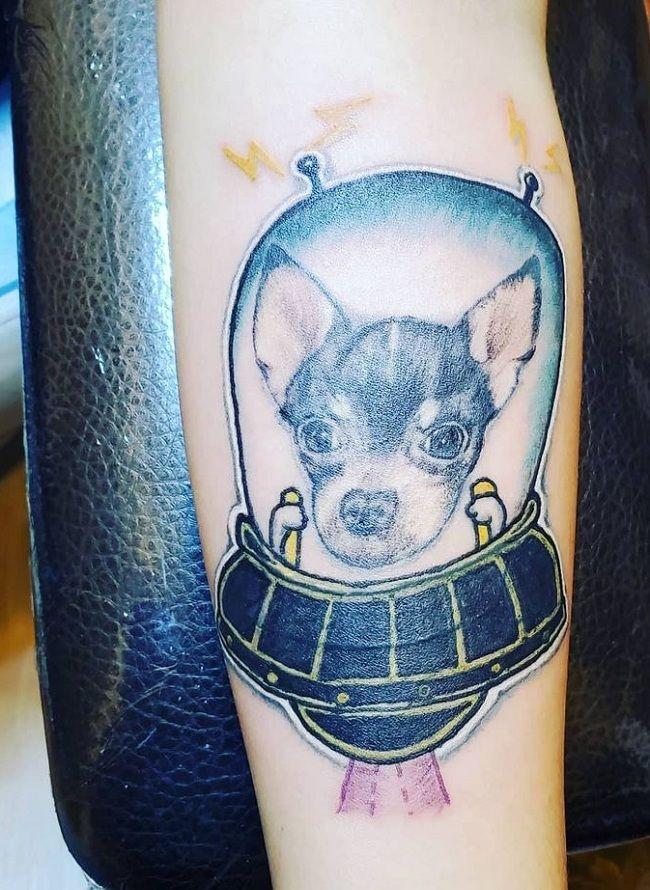 Spaceship- Theme Chihuahua Tattoo