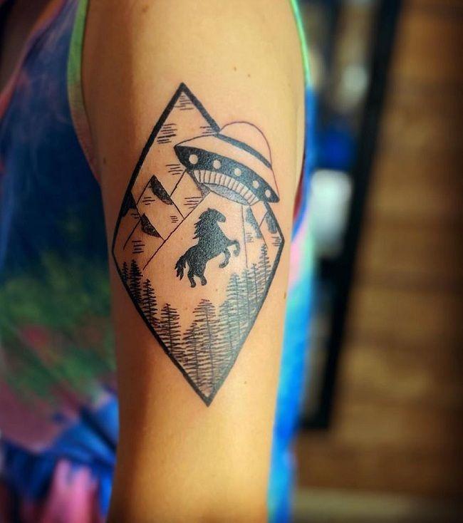 Spaceship-Theme Horse Tattoo
