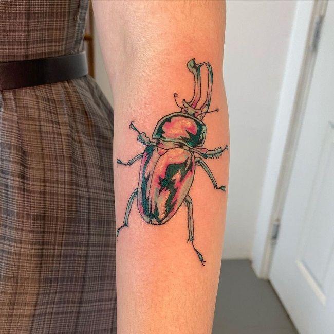 Subtle Color Beetle Tattoo