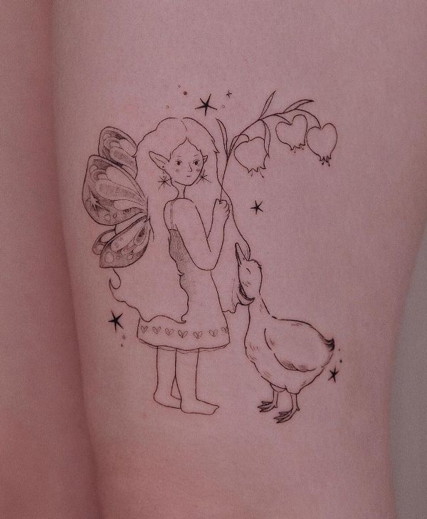 'The Fairy and the Duck' Tattoo