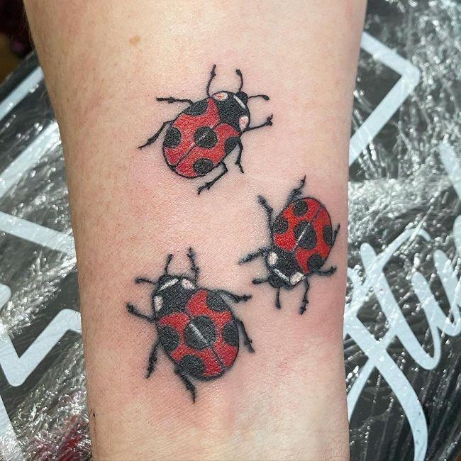Triple Ladybird Tattoo