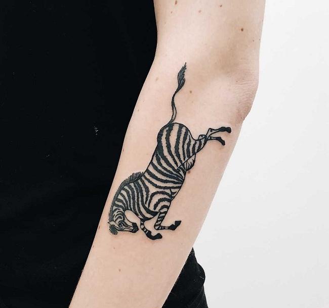 Upside-Down Zebra tattoo