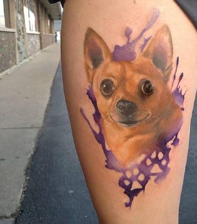 Watercolour Chihuahua Tattoo