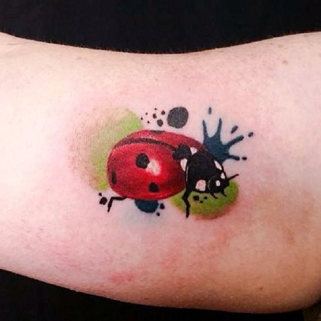 Watercolour Ladybird Tattoo