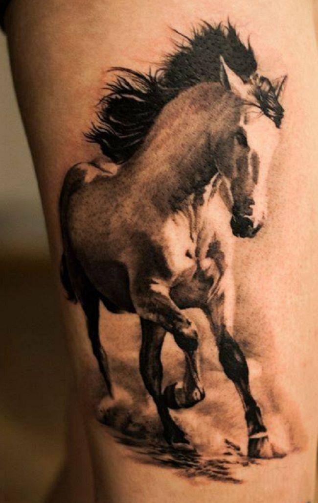 'White and Black Horse' Tattoo