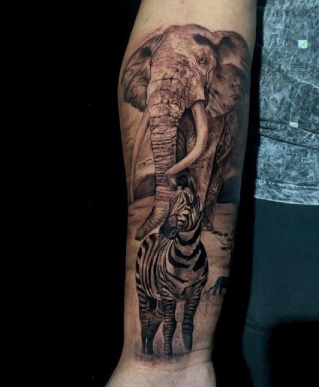 Zebra-Elephant Tattoo