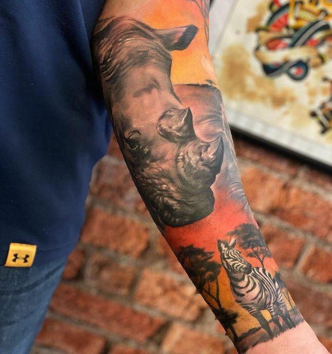 Zebra-Rhinoceros Tattoo